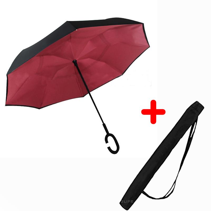Зонт обратного сложения Up-brella Wine red + чехол (n-75)