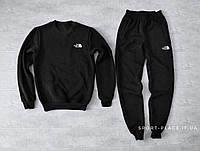 Мужской спортивный костюм The North Face черный (ЗИМА) с начесом, свитшот маленькая эмблема реплика