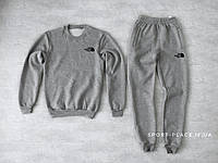 Мужской спортивный костюм The North Face серый (ЗИМА) с начесом, свитшот маленькая эмблема реплика