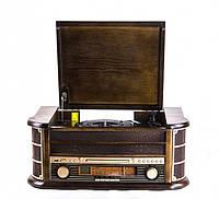 Ретро проигрыватель и радио Daklin Карузо (Т-402), натуральное дерево,(Винил/Аудио Кассеты/FM/MP3/AUX/USB/СD)