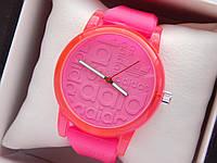 Кварцевые наручные часы Adidas (адидас) на силиконовом ремешке, с прозрачным корпусом, розовые - код 1599, фото 1