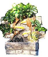 Фонтан настольный подвесной декоративный Пейзаж деревья бамбук подсветка мельница 35=35=16