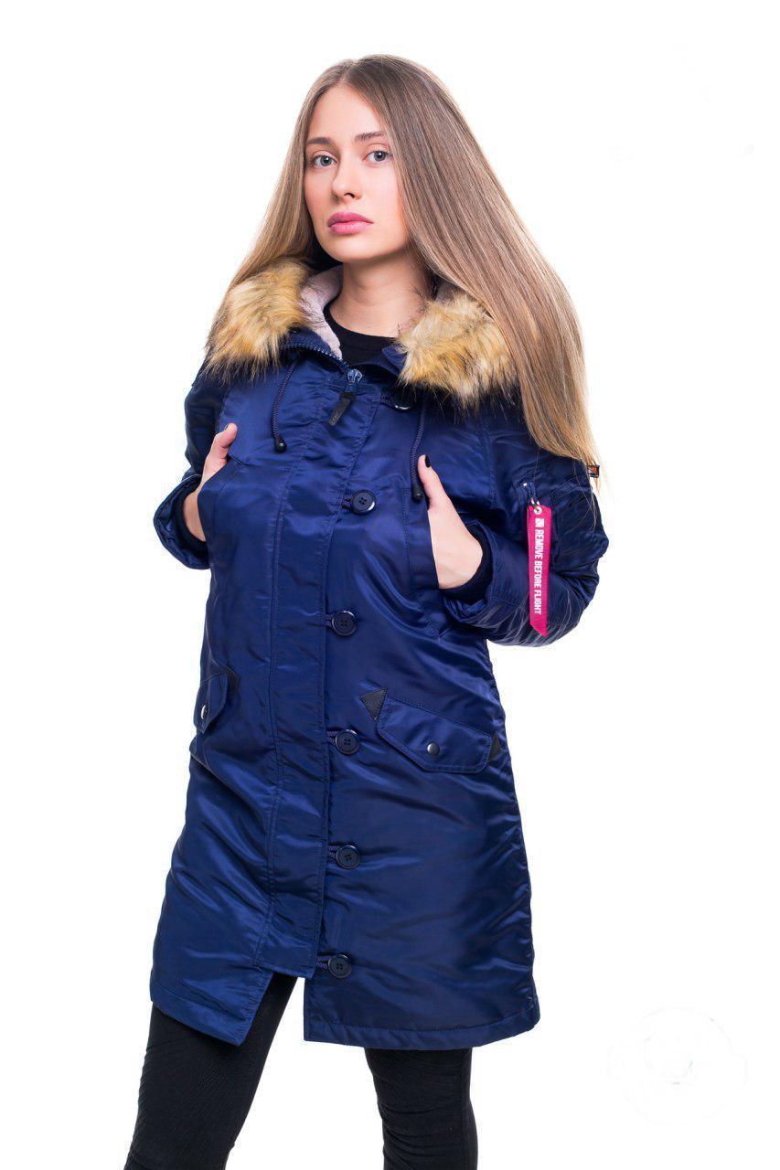 Женская зимняя аляска синего цвета от Olymp