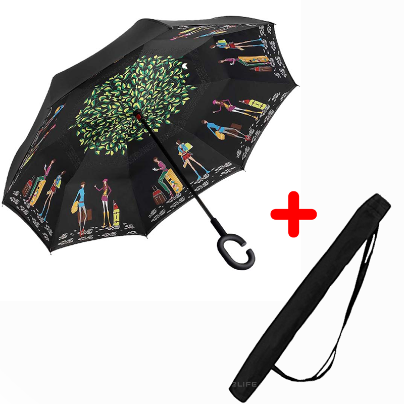 Зонт обратного сложения Up-brella Picasso + чехол (n-77)