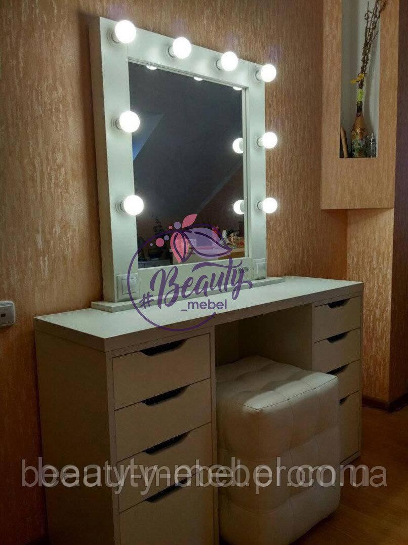 Комплект стол для визажиста с зеркалом на надставке + мягкий пуфик