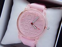 Кварцевые наручные часы Adidas (адидас) на силиконовом ремешке, с прозрачным корпусом, розовые - код 1600, фото 1