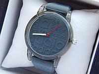Кварцевые наручные часы Adidas (адидас) на силиконовом ремешке, с прозрачным корпусом, серые - код 1601, фото 1