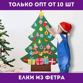 Елка из фетра с игрушками - новогодний декор на витрину, декор в офис, детская елка.