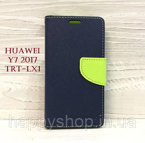 Чехол-книжка Goospery для Huawei Y7 2017 (TRT-LX1) Синий, фото 2