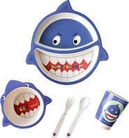 Детская бамбуковая посуда Акула набор из 5 предметов BP2