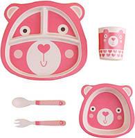 Детская бамбуковая посуда Мишка, набор из 2-х тарелок, чашки, ложки и вилки BP11 Bear Pink