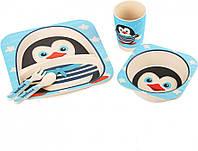 Детская бамбуковая посуда Пингвинчик набор из 3 предметов BP5, фото 1