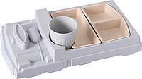 Детская бамбуковая посуда Поезд, набор из 2-х тарелок и чашки BP18 Train Blue