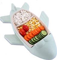 Детская бамбуковая посуда Самолет, двухсекционная тарелка с подставкой BP16 Airplane Blue, фото 1