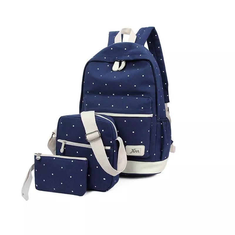 Рюкзак набор в горошек с сумкой и косметичкой синий Wenyujh (281)
