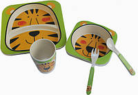 Детская бамбуковая посуда Тигр, набор из 2-х тарелок, чашки, ложки и вилки BP7 Tiger