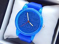 Кварцевые наручные часы Adidas (адидас) на силиконовом ремешке, с прозрачным корпусом, синие - код 1603, фото 1