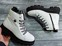 Белые модные женские Ботинки кожаные на платформе 4 см, размеры 36-41