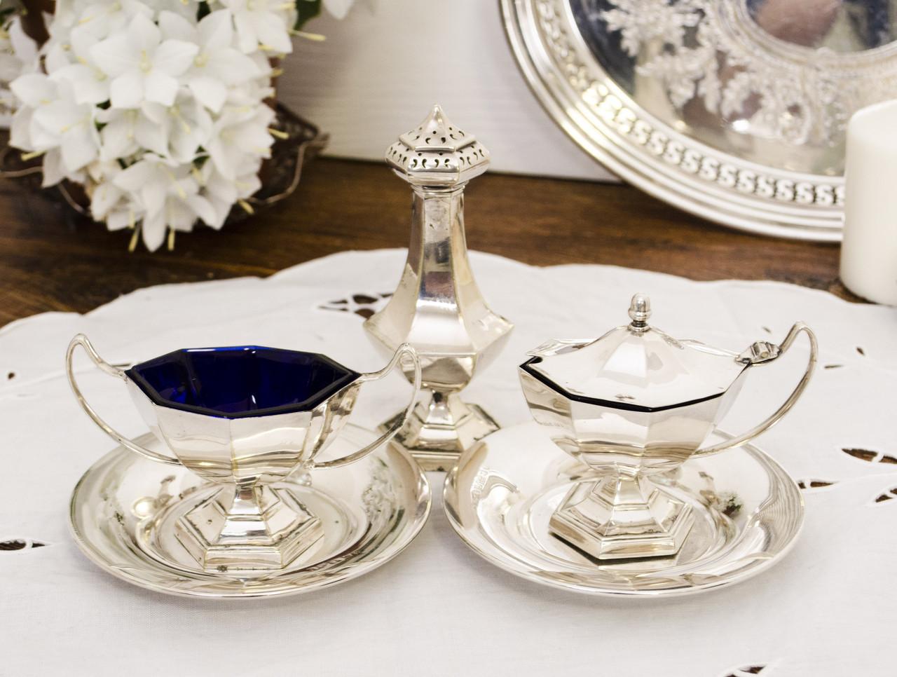 Набор для специй, для сервировки стола, солонка и соусницы, серебрение, винтаж, Англия