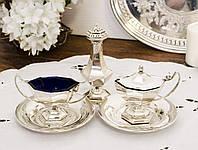 Набор для специй, для сервировки стола, солонка и соусницы, серебрение, винтаж, Англия, фото 1