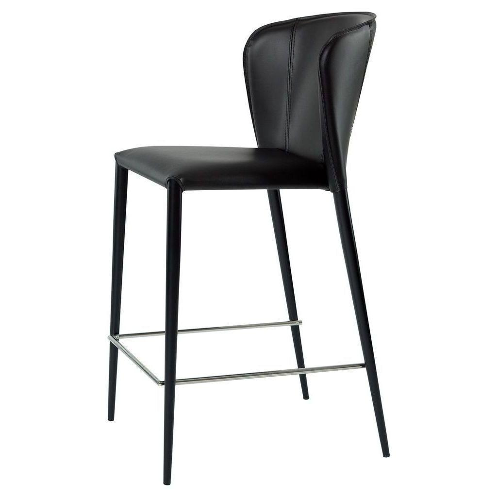 Полубарный стул ARTHUR (Артур) черная кожа от Concepto