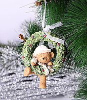 Набор из 2 подвесок на елку Мишка 191-011-2. Новогодний декор