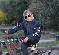 Парка джинсовая с мехом для мальчика подростковая демисезонная, синий джинс осенняя куртка детская