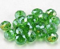 Бусины хрустальные (Рондель)  6х4мм пачка - 95-105 шт, цвет - зеленый прозрачный с АБ