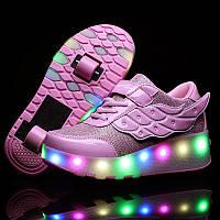 Роликовые кроссовки с LED подсветкой, розовые на 2-х колесах, размер 30-37 (LR 1209)