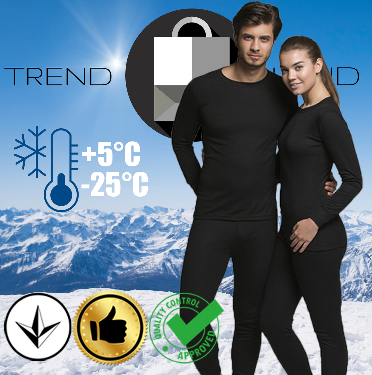 Комплект из мужского или женского термобелья до - 25°С по норвежской технологии