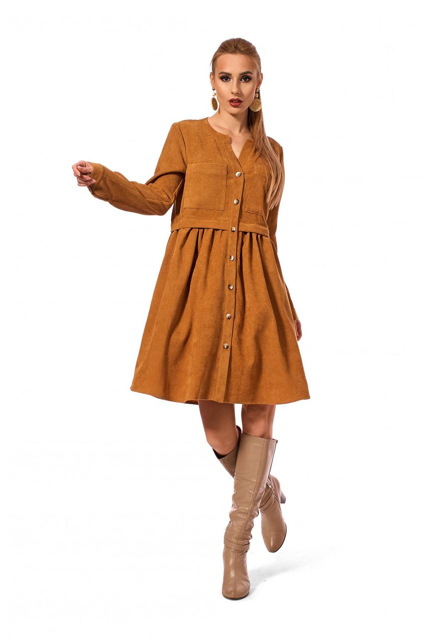Модное женское платье-рубашка горчичного цвета