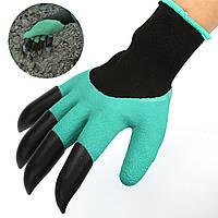 ☚Перчатки с когтями для сада и огорода Garden Genie Gloves садовые резиновые с пластиковыми наконечниками