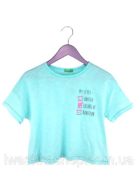 Бирюзовая укороченная футболка на девочек 7 - 8 лет, р. 130, United Colors of Benetton