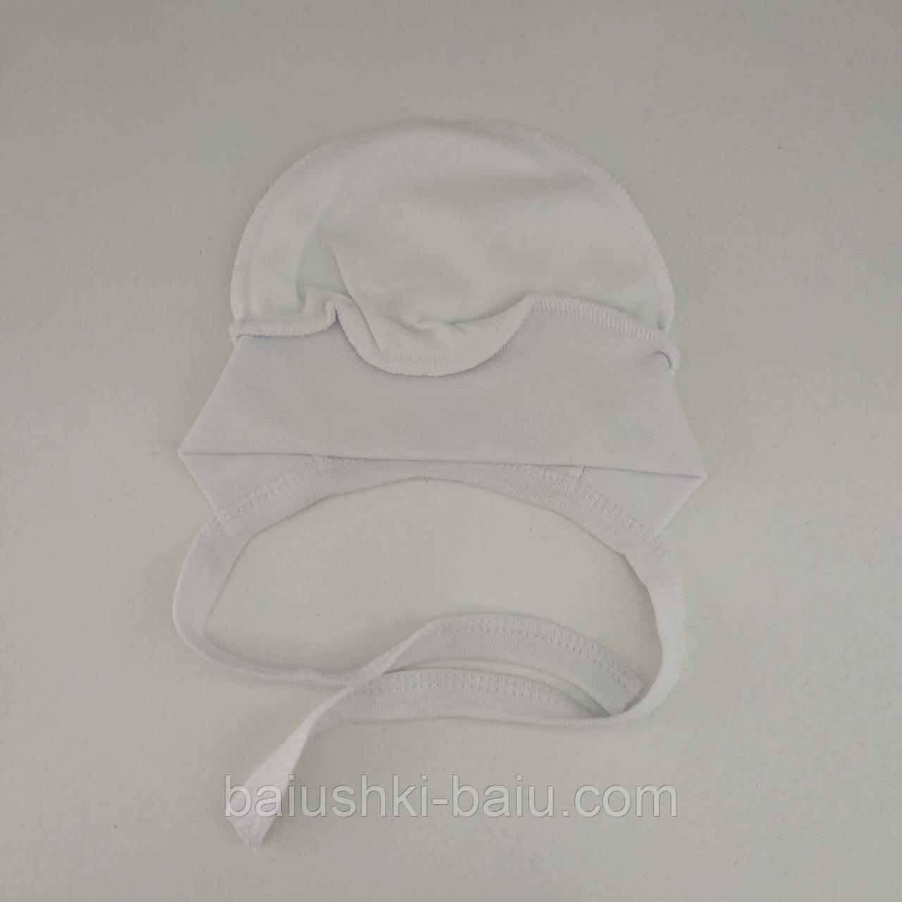 Чепчик на завязках для новорожденного (интерлок), р. 0-1 мес.