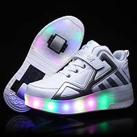 Роликовые кроссовки с LED подсветкой, белые на 2-х колёсах, размер 30,31,32,33 (LR 1210)