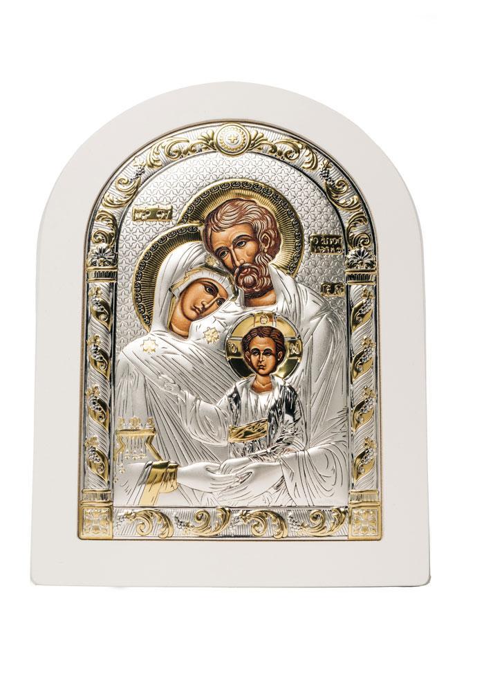 Святое Семейство Икона Серебряная с позолотой в белом цвете AGIO SILVER (Греция)  150 х 200 мм