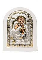 Святое Семейство Икона Серебряная с позолотой в белом цвете AGIO SILVER (Греция)  150 х 200 мм, фото 1