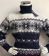 Свитер мужской теплый с орнаментом Снежинки FIVE 5, отворот под горло