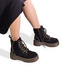 Черные замшевые женские ботинки 36-40 Woman's heel с высокой подошвой и шнурками, фото 4