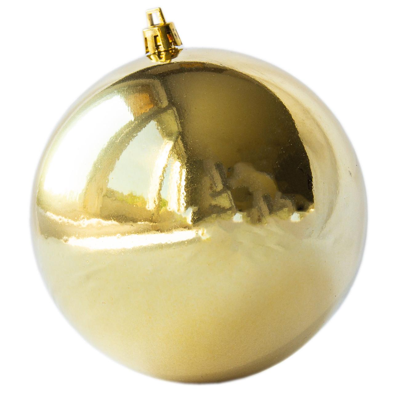Елочный шар пластиковый глянцевый d-10см, золото (030484-2)