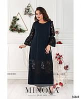 Нарядное макси платье а-силуэта, украшено  элегантным кружевом с 50 по 64 размер, фото 1