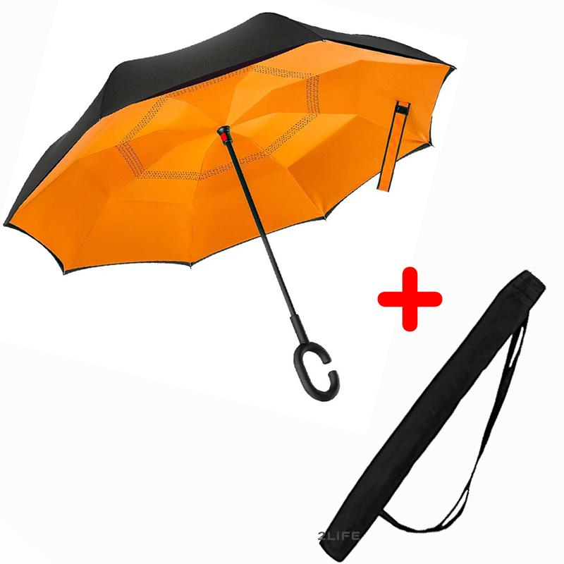 Зонт обратного сложения Up-brella Orange + чехол (n-81)