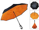 Зонт обратного сложения Up-brella Orange + чехол (n-81), фото 4