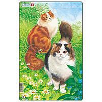 Пазл рамка-вкладыш  Коты пушистые, серия МИДИ, Larsen