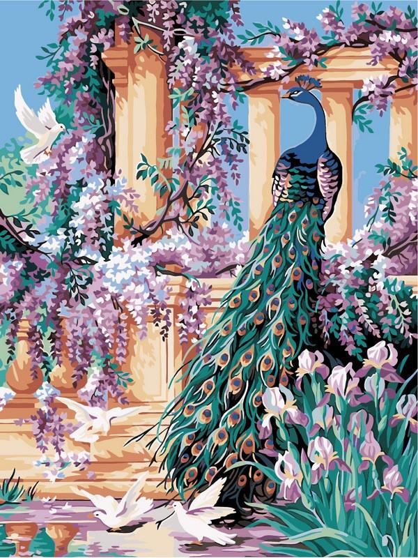 Картина по номерам 30×40 см. Babylon Ирисы и павлин (VK 139)