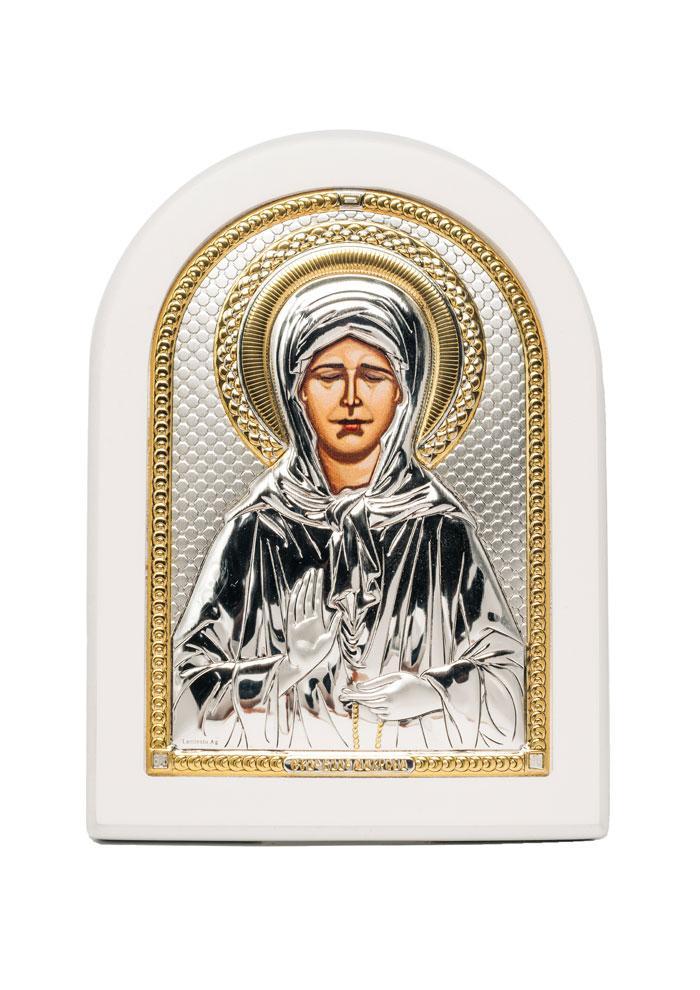 Блаженная Матрона Московская Икона Серебряная с позолотой в белом цвете AGIO SILVER (Греция)  150 х 200 мм