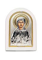 Блаженная Матрона Московская Икона Серебряная с позолотой в белом цвете AGIO SILVER (Греция)  150 х 200 мм, фото 1