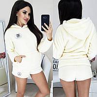 Женская махровая пижама кофта с капюшоном и шорты 42-44, 46-48