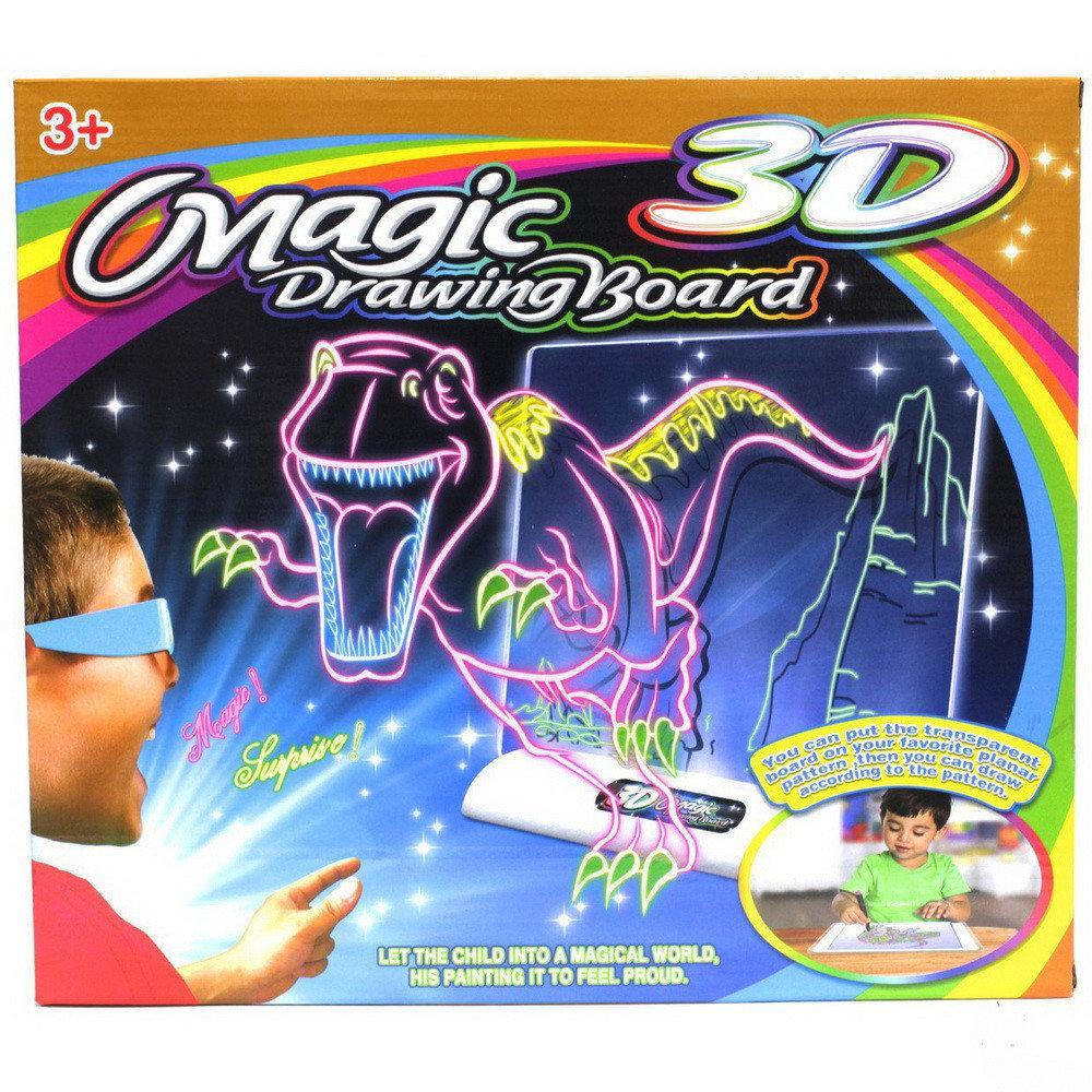 3D магическая доска для рисования + 4 фломастера+ 3D ОЧКИ + 3 ТРАФАРЕТА