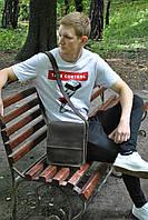 Мужская сумка из натуральной кожи crazy horse ручная работа коричневая